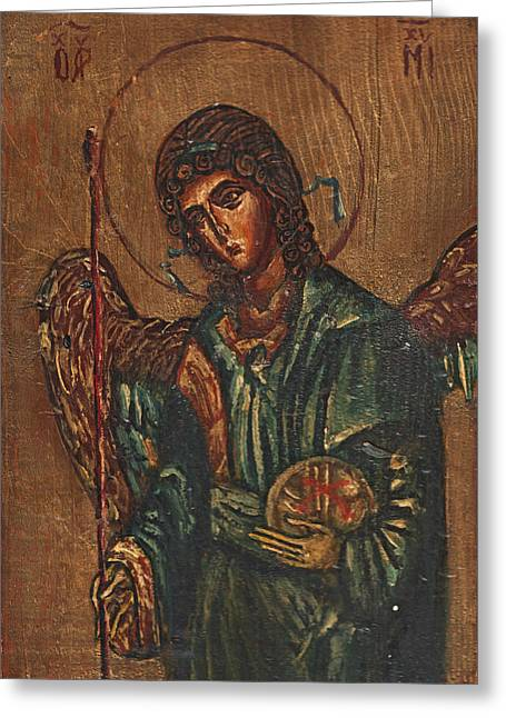 Fresco Reliefs Greeting Cards - Icon Of Archangel Michael - Painting On The Wood Greeting Card by Nenad  Cerovic