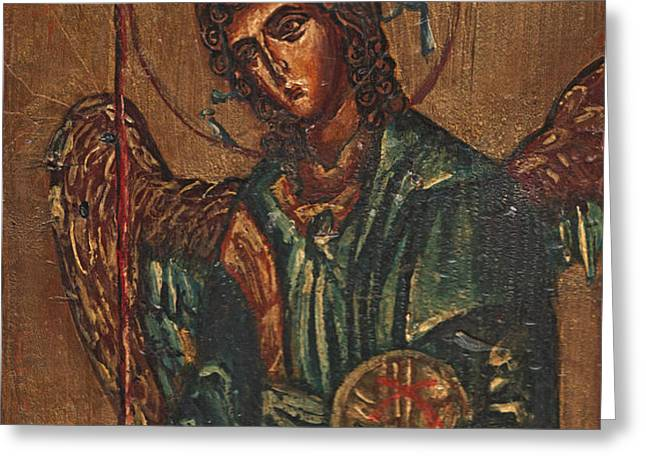 Icon Of Archangel Michael - Painting On The Wood Greeting Card by Nenad  Cerovic