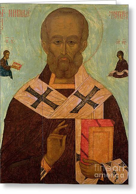 St Nicholas Icon Greeting Cards - Icon of St. Nicholas Greeting Card by Russian School