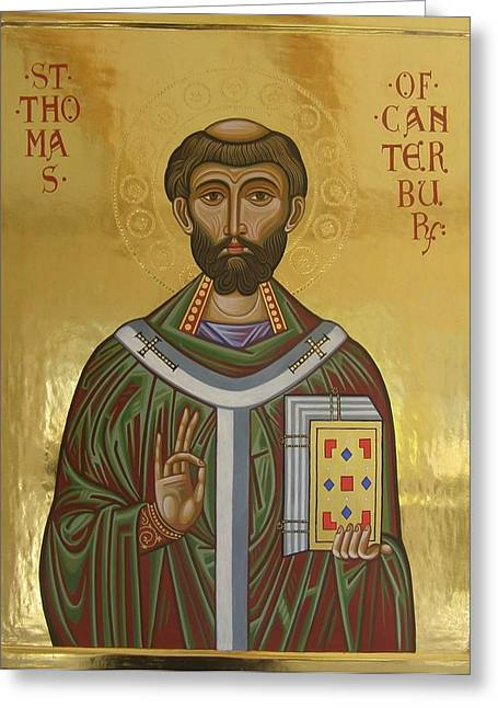 Egg Tempera Paintings Greeting Cards - Icon of St Thomas Becket of Canterbury Greeting Card by Peter Murphy