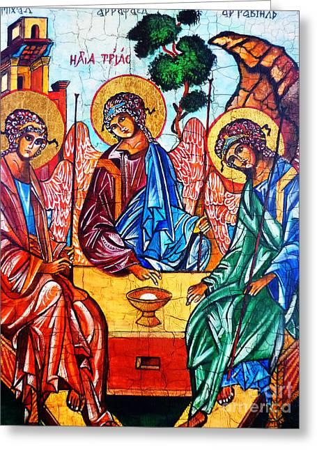 Icon Of The Holy Trinity Greeting Card by Ryszard Sleczka