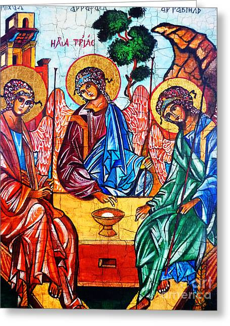 Holy Trinity Icon Greeting Cards - Icon of the Holy Trinity Greeting Card by Ryszard Sleczka