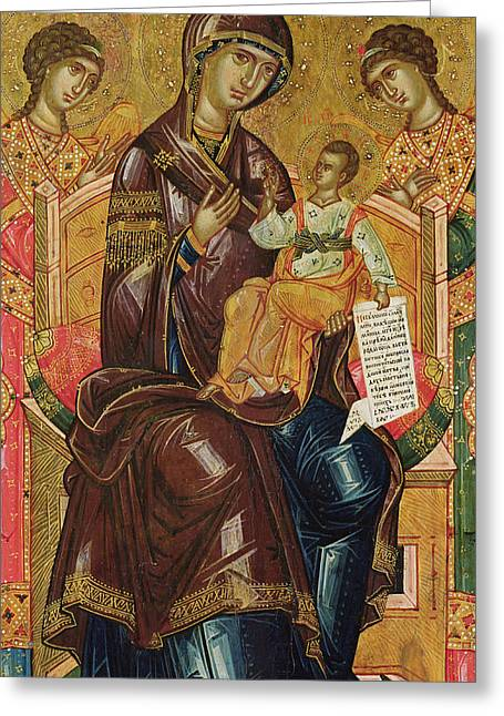 Virgin Greeting Cards - Icon of the Virgin and Child with Archangels and Prophets Greeting Card by Longin