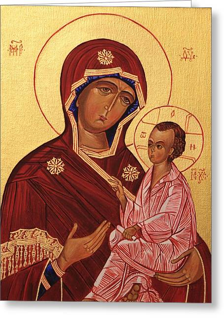 Icons Prints On Canvas Greeting Cards - Icon. Virgin Mary Greeting Card by Mariia Barabolia
