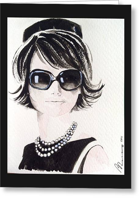 Best Sellers -  - Intrigue Greeting Cards - Jackie O Greeting Card by Barbara Chase