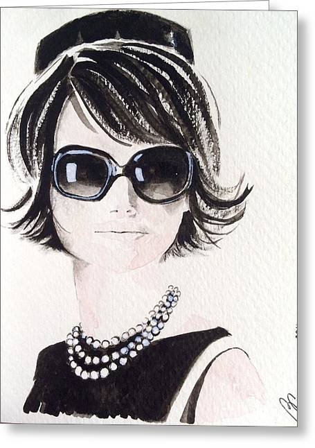 Recently Sold -  - Intrigue Greeting Cards - Jackie O Greeting Card by Barbara Chase