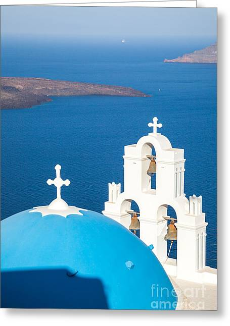Cupola Greeting Cards - Iconic blue cupola overlooking the sea Santorini Greece Greeting Card by Matteo Colombo