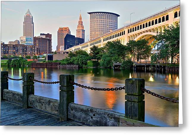 Reflecting Water Greeting Cards - Iconic Cleveland View Greeting Card by Frozen in Time Fine Art Photography