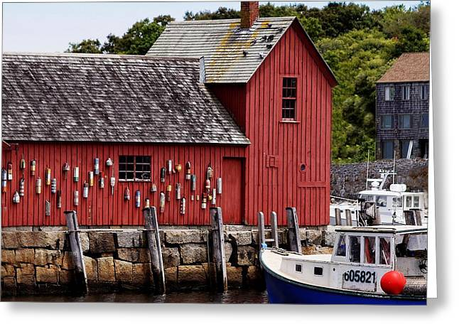Buildings In The Harbor Greeting Cards - Iconic Fishing Shed  Greeting Card by Carol Bilodeau