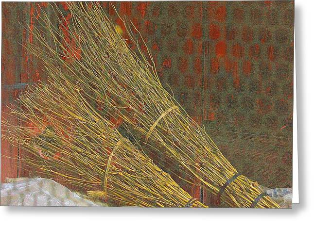 Kyoto Digital Art Greeting Cards - Iconic Kyoto Brooms Greeting Card by Karen Jensen