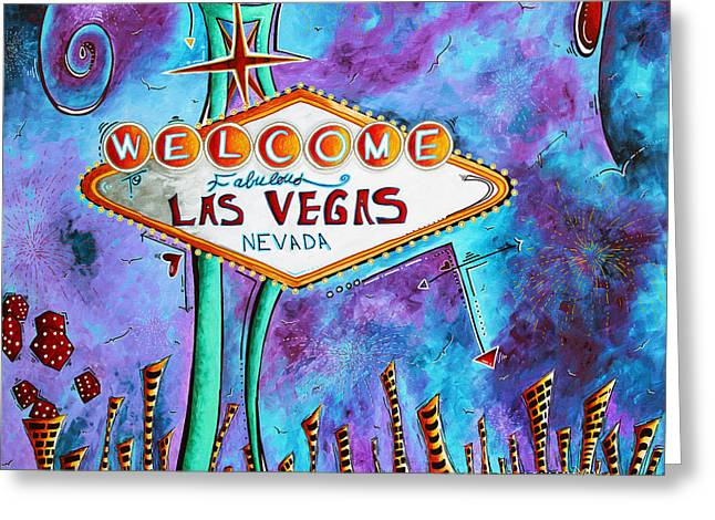 Las Vegas Artist Greeting Cards - Iconic Las Vegas Welcome Sign PoP Art Original Painting by Megan Duncanson Greeting Card by Megan Duncanson