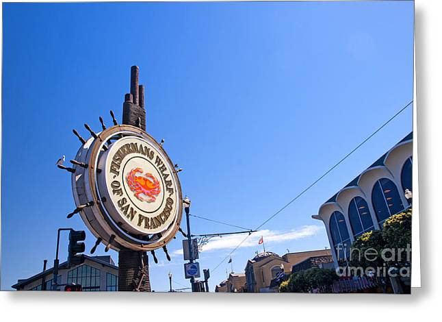California Sea Lions Greeting Cards - Iconic logo of Fishermans Wharf Greeting Card by Brenda Kean