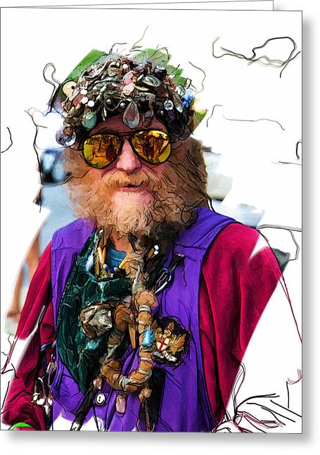 Asheville Mixed Media Greeting Cards - Iconic Man of Asheville Greeting Card by John Haldane
