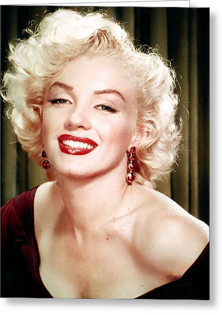 1950s Portraits Greeting Cards - Iconic Marilyn Monroe Greeting Card by Nomad Art And  Design