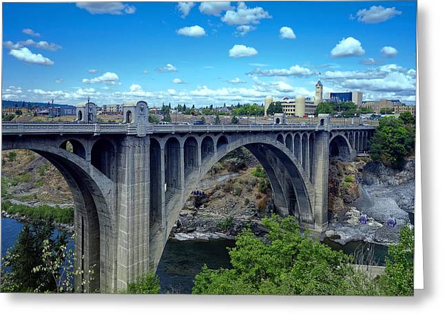 """spokane Falls"" Greeting Cards - ICONIC MONROE ST BRIDGE of SPOKANE Greeting Card by Daniel Hagerman"
