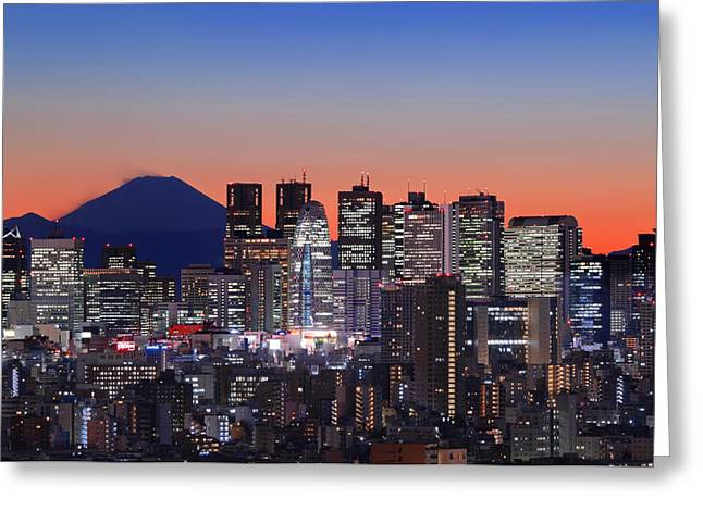 Tokyo Skyline Greeting Cards - Iconic Mt Fuji With Shinjuku Skyscrapers Greeting Card by Duane Walker