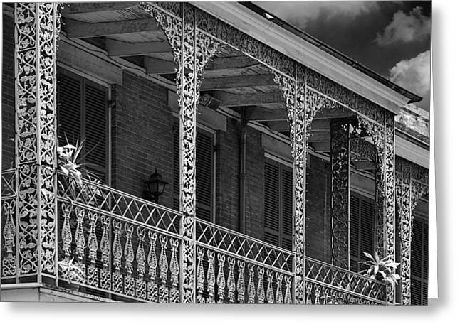 Southeastern Greeting Cards - Iconic New Orleans wrought iron balcony Greeting Card by Christine Till