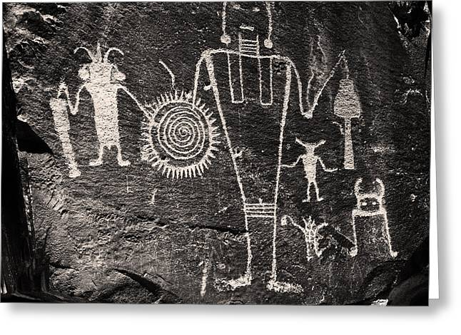 Freemont Greeting Cards - Iconic Petroglyphs from the Freemont Culture Greeting Card by Melany Sarafis