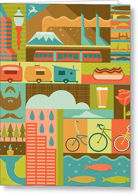 Iconic Portland Greeting Card by Mitch Frey