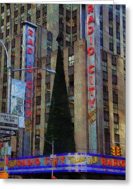 Live Music Mixed Media Greeting Cards - Iconic Radio City Greeting Card by Dan Sproul