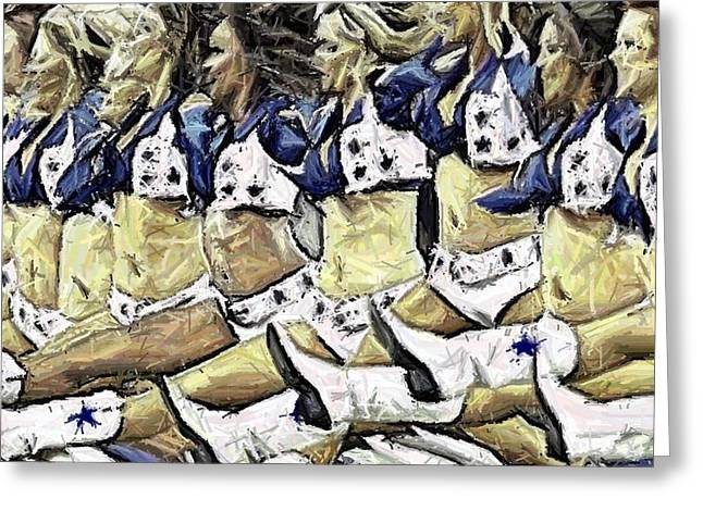 Cowboys Cheerleaders Greeting Cards - Iconic Splits Greeting Card by Carrie OBrien Sibley