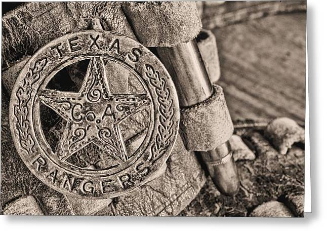 West Tx Greeting Cards - Iconic Texas BW Greeting Card by JC Findley
