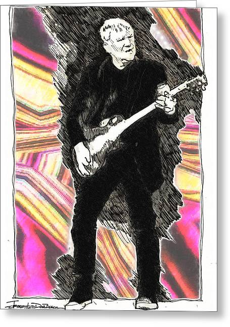Bands On Stage Drawings Greeting Cards - ICONS - Alex Lifeson Greeting Card by Jerrett Dornbusch