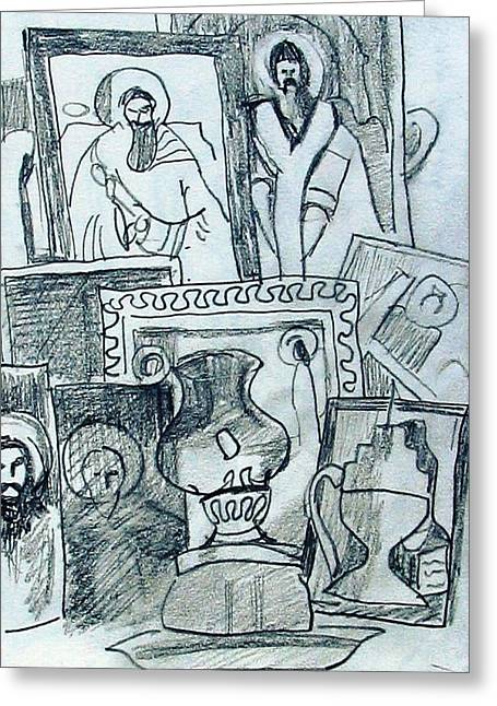 Orthodox Drawings Greeting Cards - Icons Greeting Card by Anita Dale Livaditis