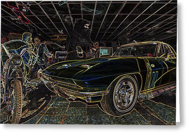 Russellville Arkansas Greeting Cards - Icons of Americana Stylized - Corvette - Elvis - Marilyn Greeting Card by Jason Politte