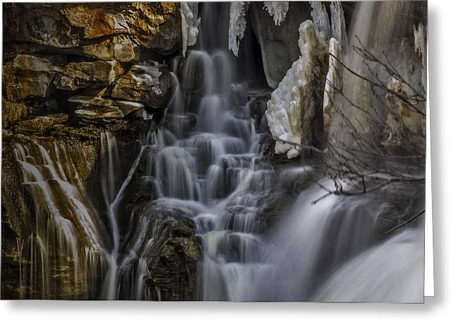 Akron Falls Greeting Cards - Icy Cascade Greeting Card by Ken Czworka