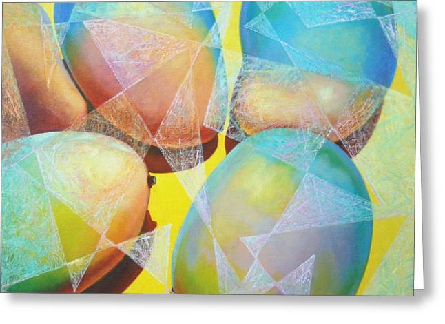 Mango Paintings Greeting Cards - Icy Mangos. Greeting Card by Ekaterina Gomol