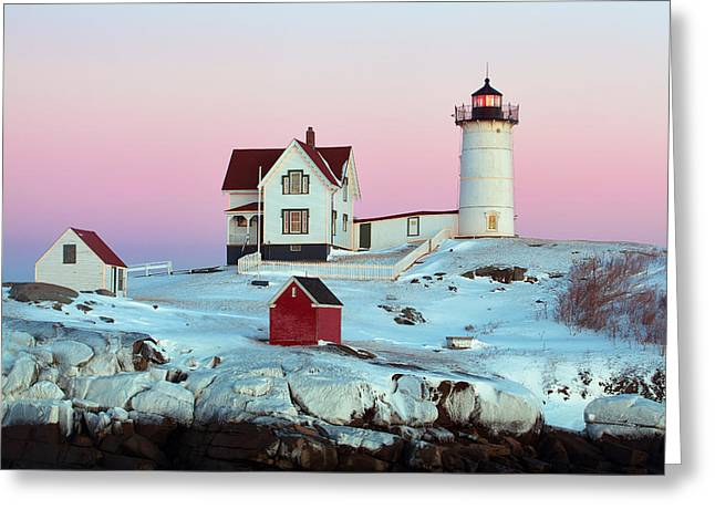 Sohier Park Greeting Cards - Icy Nubble Lighthouse Greeting Card by Eric Gendron