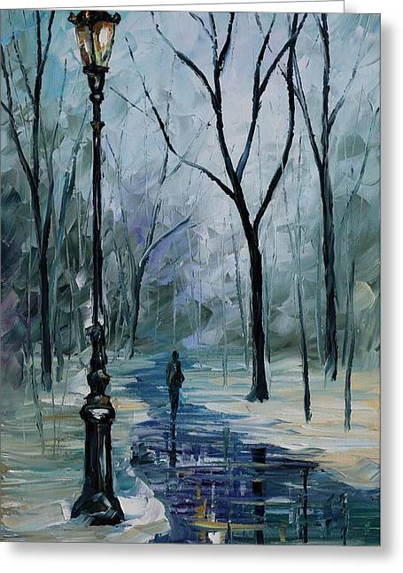 Famous ist Paintings Greeting Cards - Icy path - PALETTE KNIFE Oil Painting On Canvas By Leonid Afremov Greeting Card by Leonid Afremov