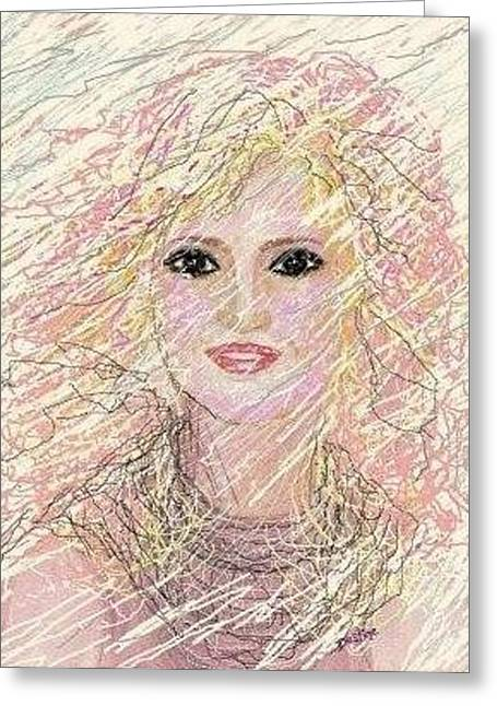 Icy Pastels Greeting Cards - Icy Pink Lady Greeting Card by Desline Vitto
