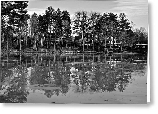 Reflecting Water Greeting Cards - Icy Pond Reflects Greeting Card by Frozen in Time Fine Art Photography
