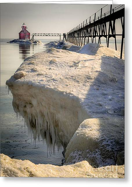 Sturgeon Greeting Cards - Icy Protrusion On The North Pier Greeting Card by Shutter Happens Photography