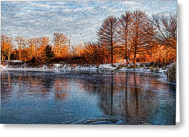 Snowy Day Greeting Cards - Icy Reflections at Sunrise - Lake Ontario Impressions Greeting Card by Georgia Mizuleva