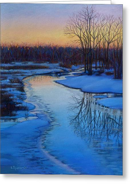 Icy Pastels Greeting Cards - Icy River at Dawn Greeting Card by Linda Spencer