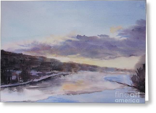 Snow Scene Landscape Greeting Cards - Icy River Dawn Greeting Card by Martin Howard
