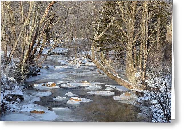 River Tapestries - Textiles Greeting Cards - Icy River Greeting Card by Michaela Tetreault