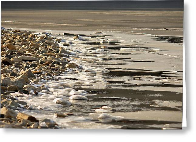 On The Beach Greeting Cards - Icy shoreline Greeting Card by Bette Bresette