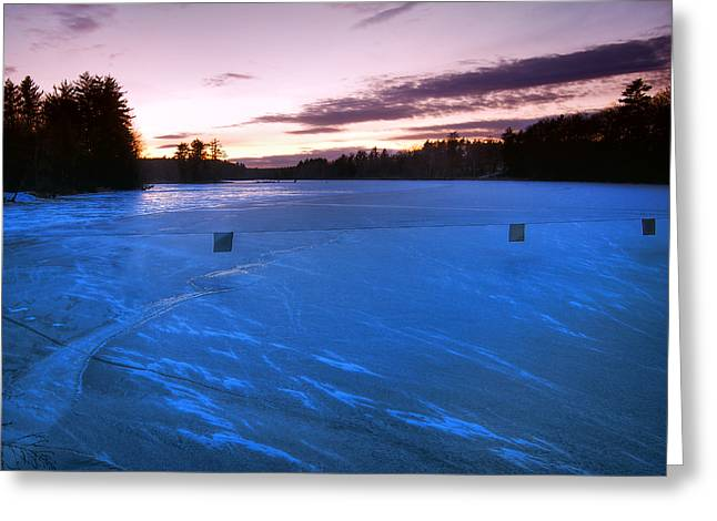Snowy Evening Greeting Cards - Icy Sunset Greeting Card by Joann Vitali