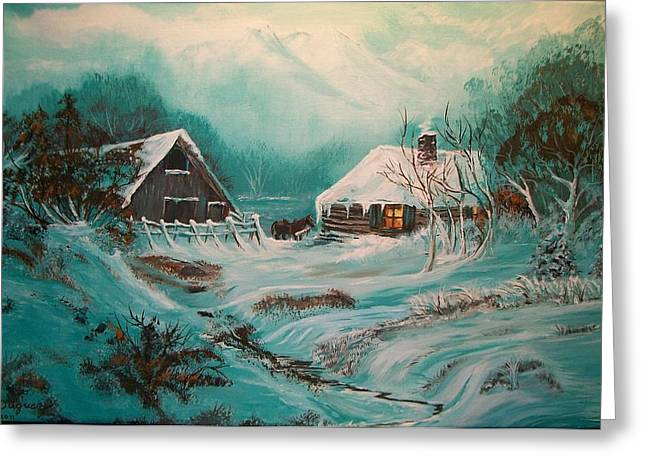 Canadian Foothills Landscape Greeting Cards - Icy Twilight Greeting Card by Sharon Duguay