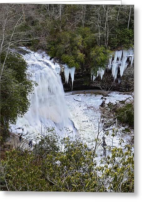 Icy Waterfall Greeting Card by Susan Leggett