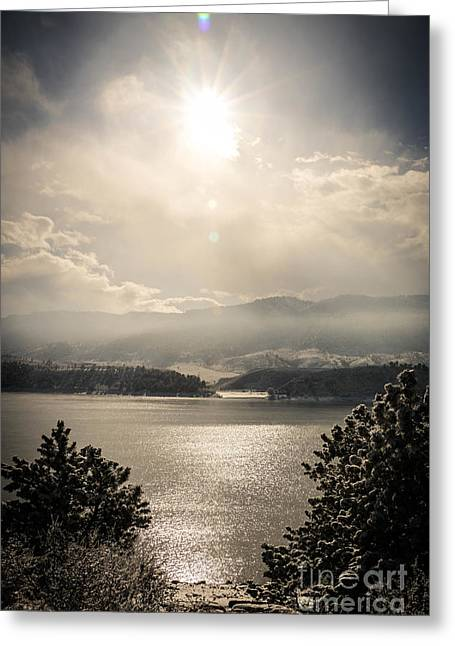 Horsetooth Reservoir Greeting Cards - Icy Waters Greeting Card by Brittany  Carlson