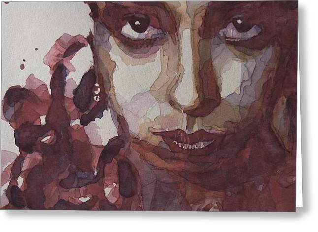 Singer Paintings Greeting Cards - Id Be Smiling If I Wasnt So Desperate Greeting Card by Paul Lovering