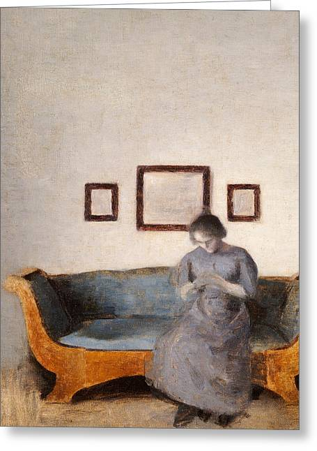 Concentrate Greeting Cards - Ida Hammershoi sitting on a sofa Greeting Card by Vilhelm Hammershoi