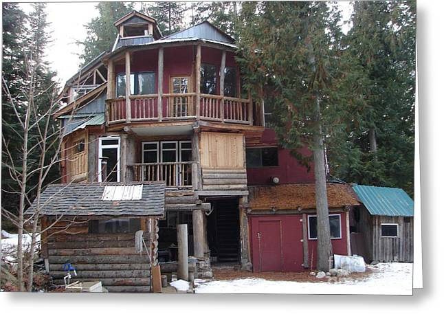 Off The Grid Greeting Cards - Idaho Hippie House 3 stories built on tree trunks Greeting Card by Windy Mountain
