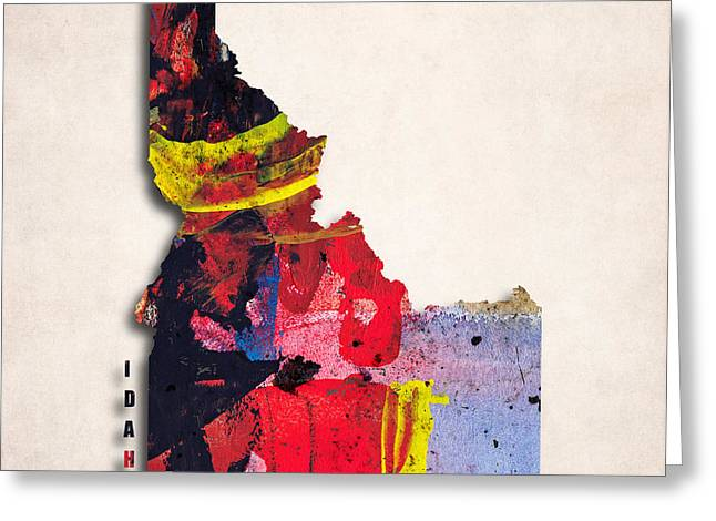 Abstract Map Greeting Cards - Idaho Map Art - Painted Map of Idaho Greeting Card by World Art Prints And Designs