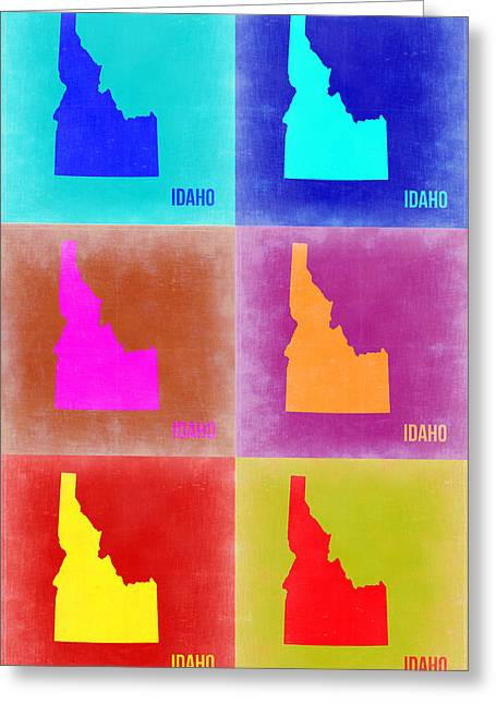 Idaho Greeting Cards - Idaho Pop Art Map 2 Greeting Card by Naxart Studio